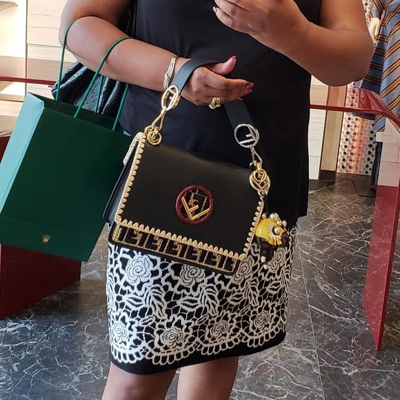 Fendi python accent crossbody bag